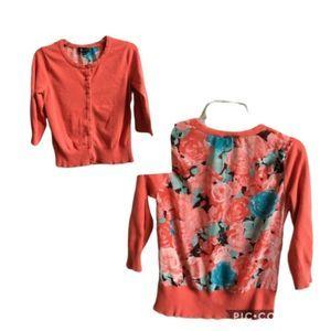 AB Studio Coral Floral Sweater Cardigan Medium
